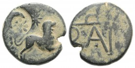Kings of Bosporos, Polemo I (c. 14/3-10/9 BC). Æ (18mm, 5.08g, 12h). Lion running r.; star above; c/m: star and crescent within circular incuse. R/ Mo...