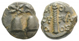 Kolchis, Dioskourias, c. 2nd-1st centuries BC. Æ (15mm, 3.81g, 12h). Piloi of the Dioskouroi surmounted by stars. R/ Thyrsos. SNG BM Black Sea 1021; S...