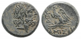 Pontos, Amisos, time of Mithradates VI, c. 85-65 BC. Æ (20mm, 8.46g, 12h). Laureate head of Zeus r. R/ Eagle standing l., head r., on thunderbolt; mon...