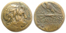 Pontos, Kabeira, c. 90-85 or 85-65 BC. Æ (24mm, 19.88g, 12h). Laureate head of Zeus r. R/ Eagle standing l. on thunderbolt, head r. SNG BM Black Sea -...