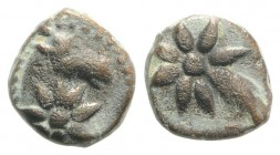 Pontos, Uncertain, c. 130-100 BC. Æ (10mm, 1.63g, 9h). Head of horse r., with star of eight points on its neck. R/ Comet star of eight points with tra...