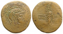 Paphlagonia, Amastris, c. 105-85 BC. Æ (30mm, 19.81g, 12h). Head of Athena r., wearing helmet decorated with griffin. R/ Perseus standing facing, hold...