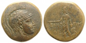 Paphlagonia, Sinope, c. 85-65 BC. Æ (29mm, 17.85g, 12h). Helmeted head of Athena r. R/ Perseus standing, facing, holding harpa and head of Medusa, who...
