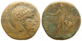 Paphlagonia, Sinope, c. 85-65 BC. Æ (28.5mm, 18.88g, 12h). Helmeted head of Athena r. R/ Perseus standing, holding harpa and head of Medusa; at feet, ...