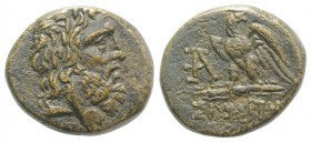 Paphlagonia, Sinope, c. 85-65 BC. Æ (19.5mm, 7.71g, 12h). Laureate head of Zeus r. R/ Eagle standing l., head r., on thunderbolt; monogram to l., [sta...