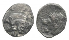 Mysia, Kyzikos, c. 450-400 BC. AR Obol (10mm, 0.72g, 6h). Forepart of boar l.; to r., tunny upward. R/ Head of lion l. within incuse square. Von Fritz...
