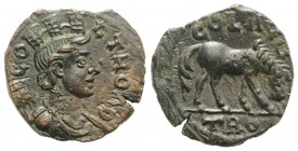 Troas, Alexandria. Pseudo-autonomous issue, c. mid 3rd century AD. Æ (20mm, 4.98g, 1h). Turreted and draped bust of Tyche r., with vexillum over shoul...
