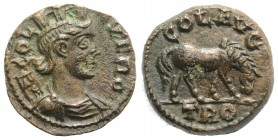Troas, Alexandria. Pseudo-autonomous issue, c. mid 3rd century AD. Æ (20mm, 5.89g, 12h). Turreted and draped bust of Tyche r., with vexillum over shou...
