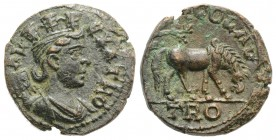 Troas, Alexandria. Pseudo-autonomous issue, time of Gallienus, c. 253-268. Æ (20mm, 5.85g, 6h). Turreted and draped bust of Tyche r.; vexillum behind....