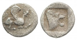 Troas, Assos, c. 479-450 BC. AR Hemiobol (6mm, 0.28g, 3h). Griffin leaping r. R/ Head of roaring lion r. in incuse square. Rosen 528. VF