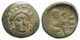 Troas, Gergis, c. 400-241 BC. Æ (16mm, 3.43g, 6h). Three-quarter facing head of Sibyl Herophile, turned slightly r., wearing laurel wreath and necklac...