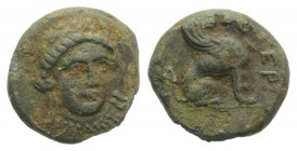 Troas, Gergis, c. 350-300 BC. Æ (11mm, 1.42g, 12h). Head of Sibyl Herophile facing slightly r., wearing laurel wreath and necklace. R/ Sphinx seated r...