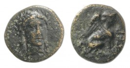 Troas, Gergis, c. 350-300 BC. Æ (8mm, 0.75g, 10h). Head of Sibyl Herophile facing slightly r., wearing laurel wreath and necklace. R/ Sphinx seated r....