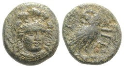 Troas, Sigeion, c. 350 BC. Æ (17.5mm, 5.91g, 1h). Head of Athena slightly facing r., wearing triple-crested helmet. R/ Owl standing r.; crescent to l....