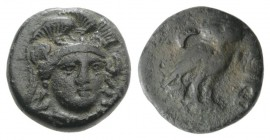 Troas, Sigeion, c. 4th-3rd centuries BC. Æ (11mm, 1.61g, 6h). Head of Athena facing slightly r., wearing triple-crested helmet. R/ Owl standing r., he...