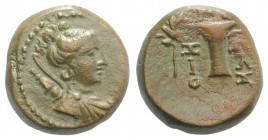 Aeolis, Kyme, c. 165-early 1st century BC. Æ (14mm, 4.03g, 12h). Zoilos, magistrate. Draped bust of Artemis r., quiver and bow over shoulder. R/ One-h...