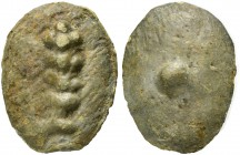 Tuder or Volsinii, Cast Uncia, 3rd century BC; AE (g 11,75; mm 25; h 12); Club, Rv. °. HNItaly 55, ICC 200. Very rare. Untouched light green patina, a...