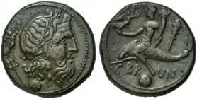 Apulia, Brundisium, Uncia, 215 BC; AE (g 8,72; mm 21; h 9); Laureate head of Poseidon r.; trident and Nike behind; below, °. Youth on dolphin l., hold...