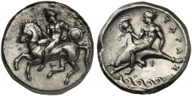 Apulia, Tarentum, Nomos, ca. 380-340 BC; AR (7,62; mm 21; h 3); Horseman galloping l., holding shield and spear; below, T, Rv. TAPA - Σ, dolphin rider...