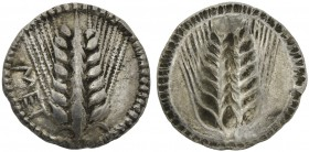 Lucania, Metapontion, Drachm, ca. 540-510 BC; AR (g 2,71; mm 17; h 12); MET, barley-ear, Rv. Same type incuse without legend. HNItaly 1468; Noe 52. Ex...