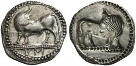 Lucania, Sybaris, Drachm, ca. 550-510 BC; AR (g 2,82; mm 20, h 12); Bull advancing l., looking backwards; in ex., MV (retrograde), Rv. Same type incus...