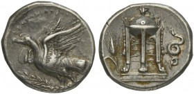 Bruttium, Croton, Stater, ca. 425-350 BC; AR (g 7,66; mm 22; h 10); KPOTΩNIATΩN, eagle standing l, wings open, on olive-branch, Rv. Ornate tripod; on ...