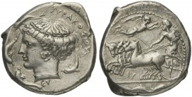 Sicily, Syracuse, Tetradrachm under the Second Democracy, signed by Eumenes and Eukleidas, ca. 415-405 BC; AR (g 17,42; mm 26; h 3); Prancing quadriga...