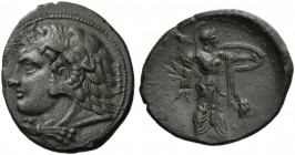 Sicily, Syracuse, Bronze under Phirros, ca. 278-276 BC; AE (g 6,36; mm 25; h 4); ΣΥΡΑΚΟΣΙΩΝ, head of Heracles l., wearing lion's skin; behind, club, R...