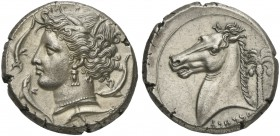 The Carthaginians in the Mediterranean, Sicily, Entella, Tetradrachm, ca. 320-300 BC; AR (g 17,24; mm 25; h 3); Head of Tanit l.; around, four dolphin...