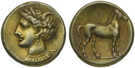 The Carthaginians in the Mediterranean, Africa, Carthage, Stater, ca. 290-270 BC; EL (g 7,38; mm 19; h 12); Head of Tanit l., Rv. Horse standing r. MA...