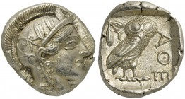 Attica, Athens, Tetradrachm, after 449 BC; AR (g 17,19; mm 25; h 6); Head of Athena r., wearing crested Attic helmet decorated with three olive leaves...
