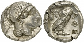 Attica, Athens, Tetradrachm, after 449 BC; AR (g 17,21; mm 25; h 3); Head of Athena r., wearing crested Attic helmet decorated with three olive leaves...