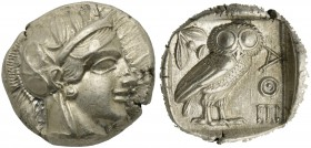 Attica, Athens, Tetradrachm, after 449 BC; AR (g 17,16; mm 24; h 6); Head of Athena r., wearing crested Attic helmet decorated with three olive leaves...