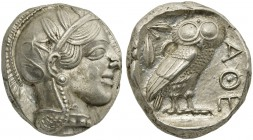 Attica, Athens, Tetradrachm, after 449 BC; AR (g 17,20; mm 23; h 6); Head of Athena r., wearing crested Attic helmet decorated with three olive leaves...
