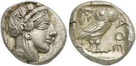Attica, Athens, Tetradrachm, after 449 BC; AR (g 17,24; mm 24; h 3); Head of Athena r., wearing crested Attic helmet decorated with three olive leaves...