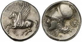 Corinthia, Corinth, Stater, ca. 450-415 BC; AR (g 8,61; mm 20; h 6); Pegasos flying l.; below, Ϙ, Rv. Helmeted head of Athena l.; behind, facing head ...