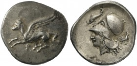 Corinthia, Corinth, Stater, ca. 405-345 BC; AR (g 8,31; mm 24; h 12); Pegasos flying l.; below, Ϙ, Rv. Helmeted head of Athena l.; above, dolphin; beh...