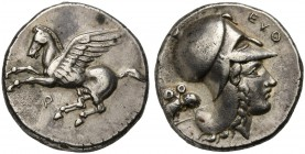 Corinthia, Corinth, Stater, ca. 400-375 BC; AR (g 8,70; mm 21; h 6); Pegasos flying l.; below, Ϙ, Rv. Helmeted head of Athena r.; double-bodied owl be...
