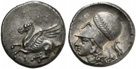 Corinthia, Corinth, Stater, ca. 375-300 BC; AR (g 8,63; mm 21; h 3); Pegasos flying l.; below, Ϙ, Rv. Helmeted head of Athena l., helmet decorated wit...