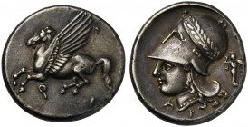 Corinthia, Corinth, Stater, ca. 375-300 BC; AR (g 8,56; mm 21; h 9); Pegasos flying l.; below, Ϙ, Rv. Helmeted head of Athena l., helmet decorated wit...