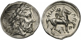 Kings of Macedon, Amphipolis, Tetradrachm in the name of Philip II, ca. 323-317 BC; AR (g 14,21; mm 24; h 8); Laureate head of Zeus r., Rv. ΦIΛIΠ - ΠO...