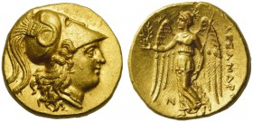 Kings of Macedon, Sidon, Stater in the name of Alexander III, ca. 321-320 BC; AV (g 8,60; mm 17; h 12); Head of Athena r., wearing crested Corinthian ...