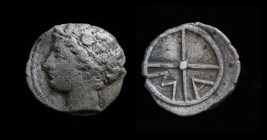 GAUL, Massalia, c. 350-150 BCE, AR Obol. 0.59g, 10m. Obv: Youthful male head left (Apollo?) Rev: Wheel with four spokes; M A within two quarters.  Dep...