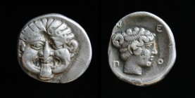 MACEDON, Neapolis, late 5th to early 4th c. BCE., AR Hemidrachm. 1.85g, 14mm. Obv: Facing gorgoneion. Rev: N - E - O - Π.  Head of nymph right within ...