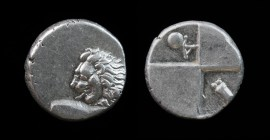 THRACE, Chersonesos, c. 386-338 BCE, AR Hemidrachm. 2.40g, 13mm. Obv: Forepart of lion right, head reverted. Rev: Quadripartite incuse square with alt...