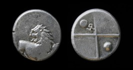 THRACE, Chersonesos, c. 386-338 BCE, AR hemidrachm. 2.40g, 13mm. Scarce type, not in McClean. Obv: Forepart of lion right, head reverted. Rev: Quadrip...