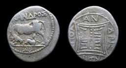 ILLYRIA, Apollonia, c. 229-100 BCE, AR drachm. 3.04g, 18mm. Scarce variety. Obv: ΝΙΚΑΝΔΡΟΣ, Cow standing left with suckling calf, monogram below. Rev:...