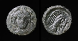 EUBOIA, Chalkis, c. 245-196 BCE, AE13. 1.57g, 13mm. Obv: Bust of Hera facing with necklace, diadem and hanging fillets. Rev: XAΛ, Eagle to right carry...