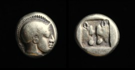 LESBOS, Mytilene: Electrum hekte, c. 454-427 BCE. 2.52g, 10mm. Obv: Helmeted head of Athena, right. Rev: Two steer heads confronted within incuse squa...