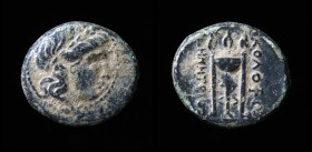 IONIA, Kolophon, circa 285-190 BCE, Demetrios, magistrate, AE14. 2.6g, 14.2mm. Scarce. Obv: Head of Apollo right, hair in loose locks.  Rev: ΚΟΛΟΦΩ / ...